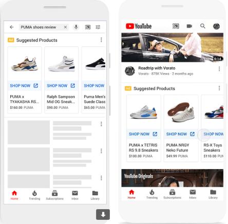 торговая реклама на YouTube на главной и в результатах поиска