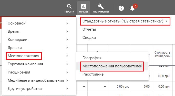 Отчеты по местоположениям пользователей Google Ads