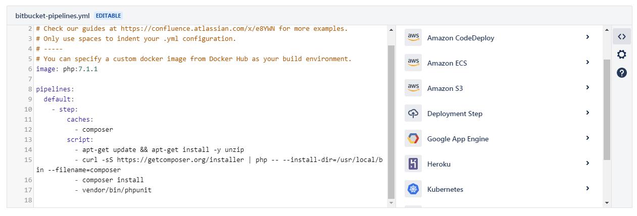 пример шаблона для языка PHP