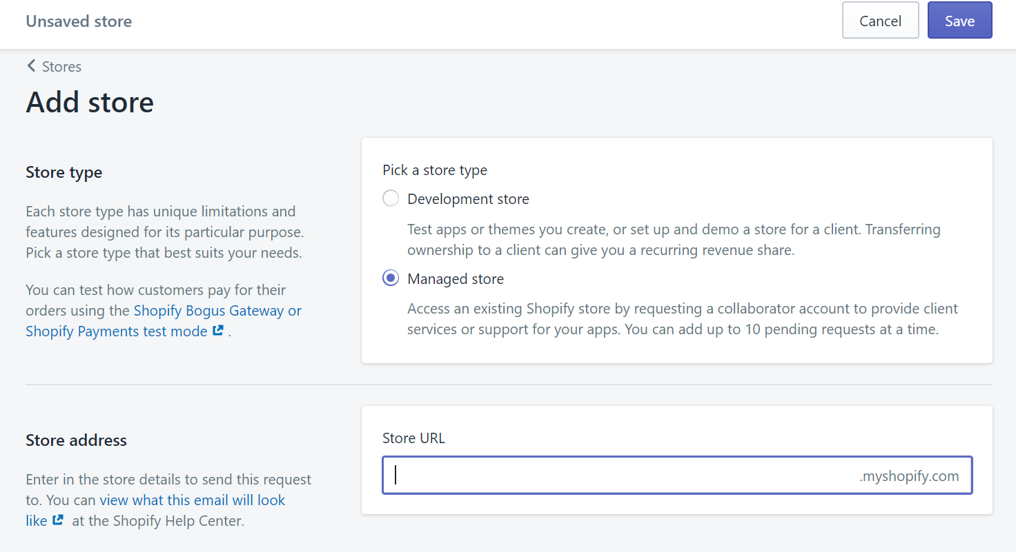 Чтобы отправить запрос, нужно знать адрес сайта в формате myshopify.com. Он часто не совпадает с доменом магазина, который видят пользователи, поэтому уточняйте у клиента