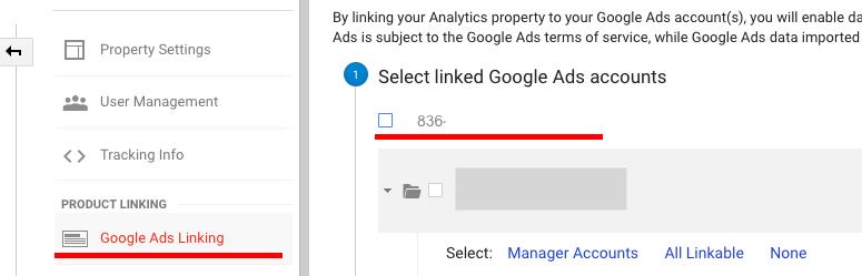 Аккаунты Google Ads и Analytics