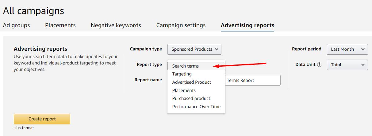 Настройка отчетов Amazon Advertising