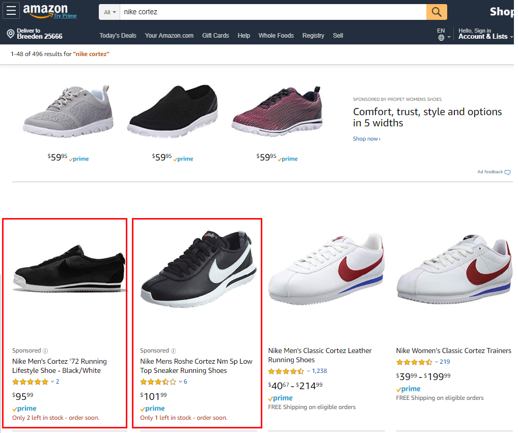 Пример объявления Amazon Sponsored Products