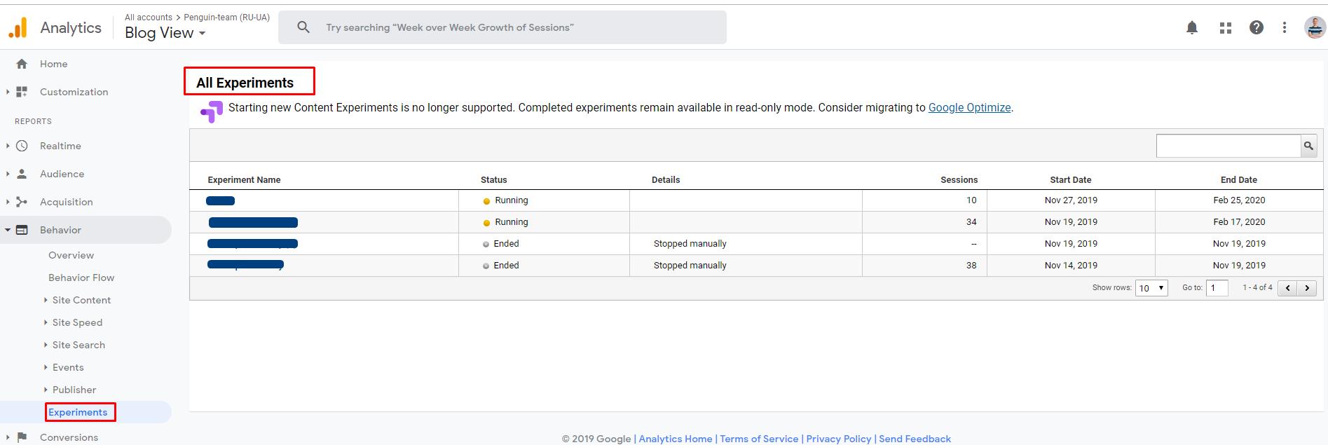 Общий отчет по эксперименту в Google Analytics