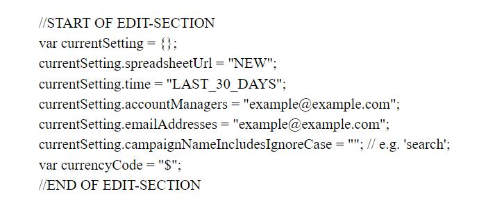 Переменные в скрипте Ads Analysis