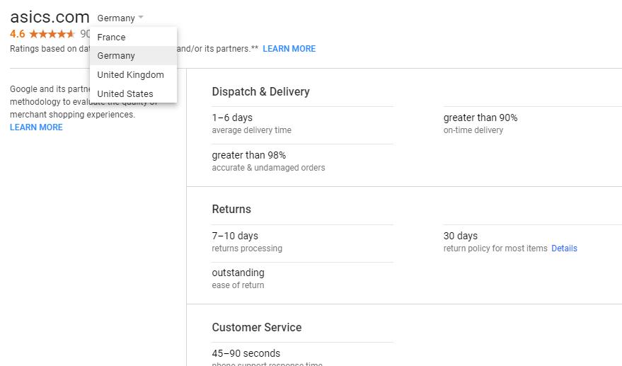 Отчет по рейтингу продавца от Google
