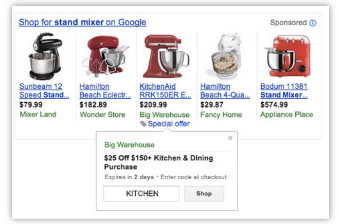 товар з акцією у видачі Google