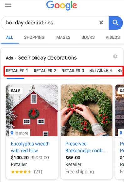 Карусели товаров в Google Покупках