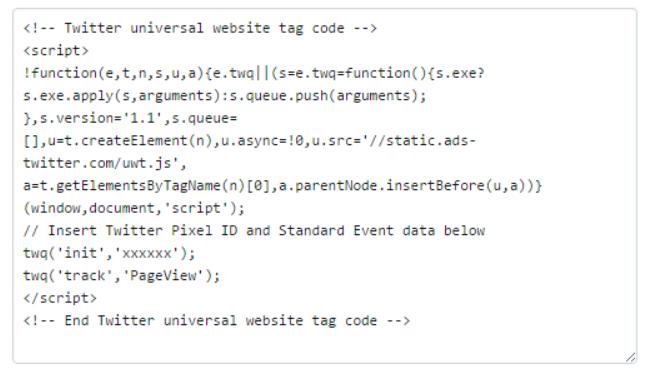 Пример кода Twitter Tracking Pixel