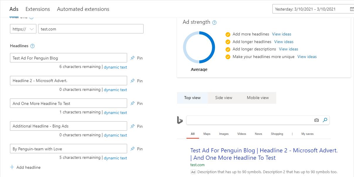 Створення голошення в Bing Ads