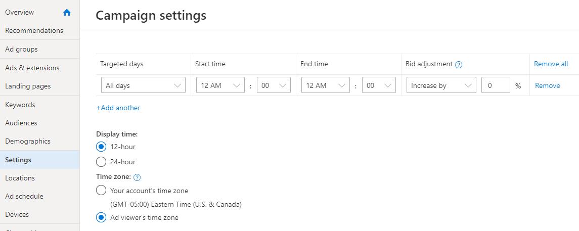 Таргетинг кампаній в Bing Ads