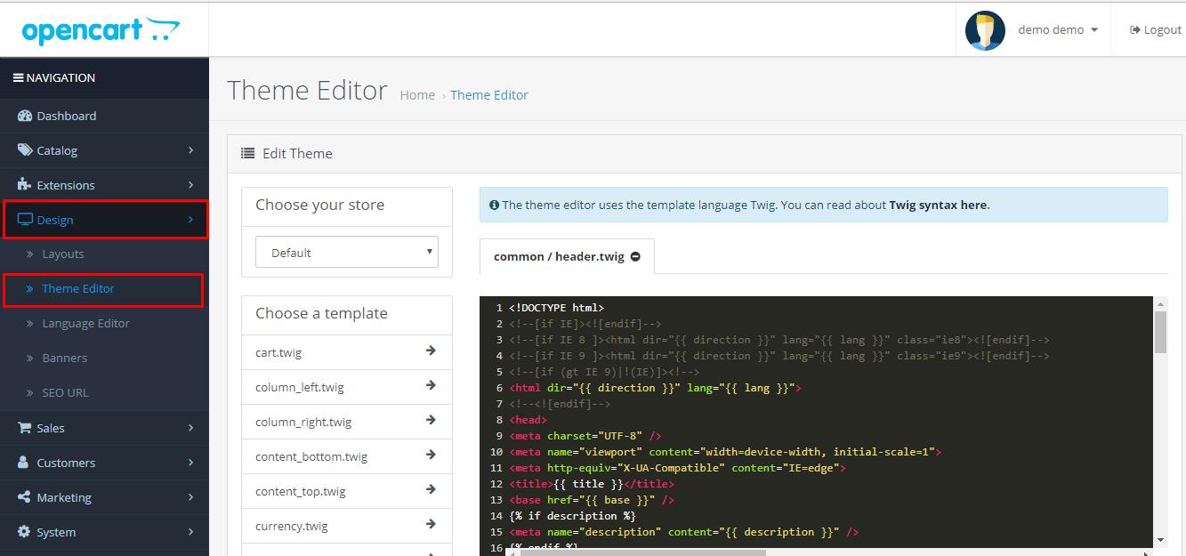 Пункт редагування для OpenCart
