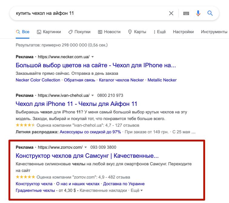 Отсутствие минус-слов - ошибка в Google Ads