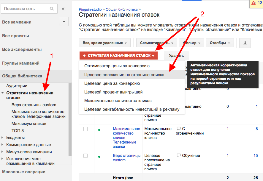 Стратегия Adwords 4